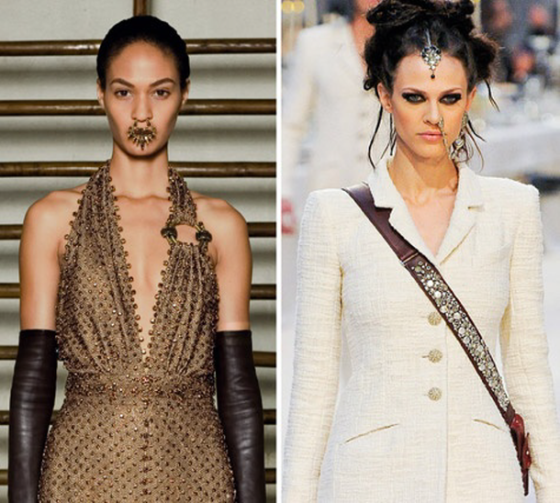 High fashion piercings at Givenchy Haute Couture (left) and Chanel pre-fall 2012.
