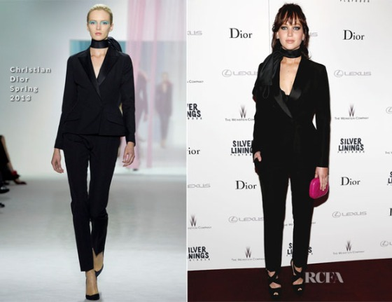 The much talked about Dior SS13 tuxedo as worn by Jennifer Lawrence
