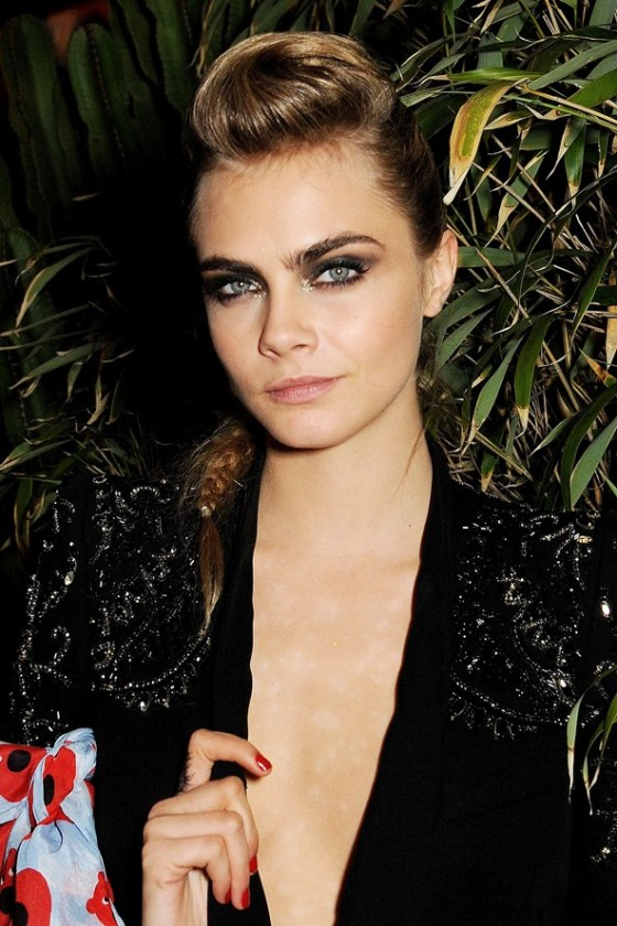 Miss Delevingne rocks an edgy fish plait