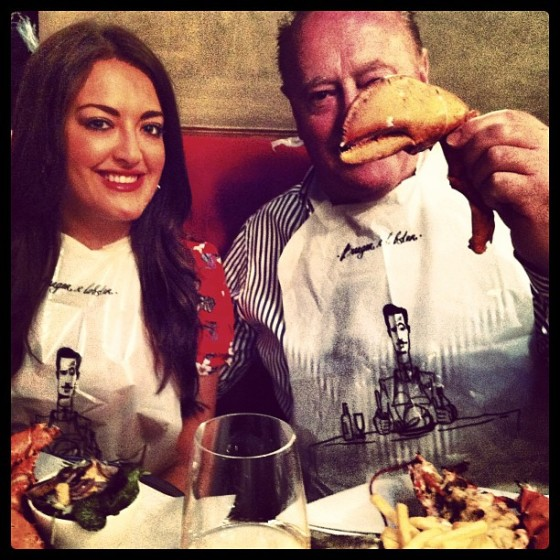 Tucking in donned with Burger and Lobster bibs!