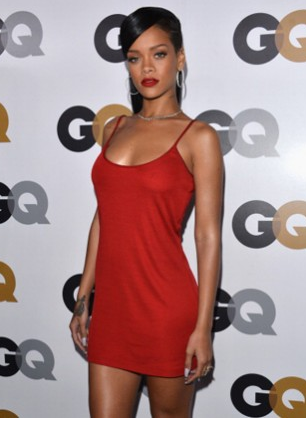 Rihanna is the ACTUAL Calvin Klein '90s dress in scarlet at the GQ 'Men of the Year' party a few months back!
